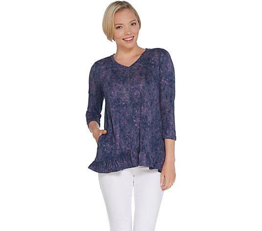 """As Is"" LOGO by Lori Goldstein Printed Cotton Modal Top with Ruffle Hem"