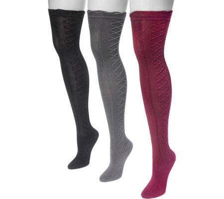 Muk Luks Women S 3 Pair Pack Lace Texture Overthe Knee Socks