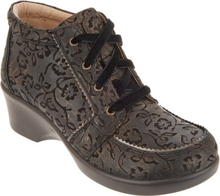 As Is Alegria Leather Lace Up Booties Elsa