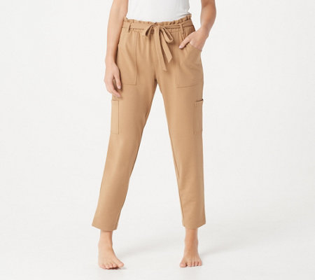 AnyBody Regular French Terry Pants w/ Paperbag Waist