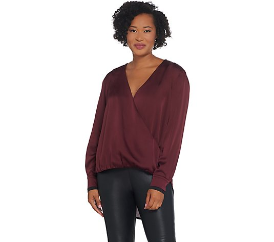 """As Is"" Lisa Rinna Collection Cross-Over V-Neck Blouse"