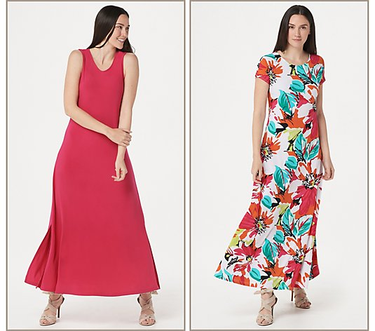 """As Is"" Attitudes by Renee Regular Jersey Set of 2 Maxi Dresses"