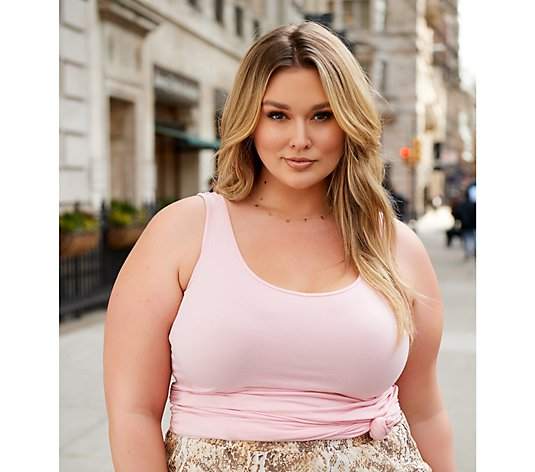 All Worthy Hunter McGrady Scoop-Neck Long Tank Top with Ruching