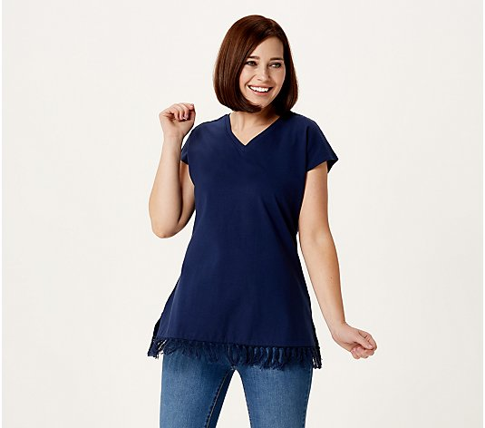 Denim & Co. Petite Jersey V-Neck Tunic w/ Hem Detailing