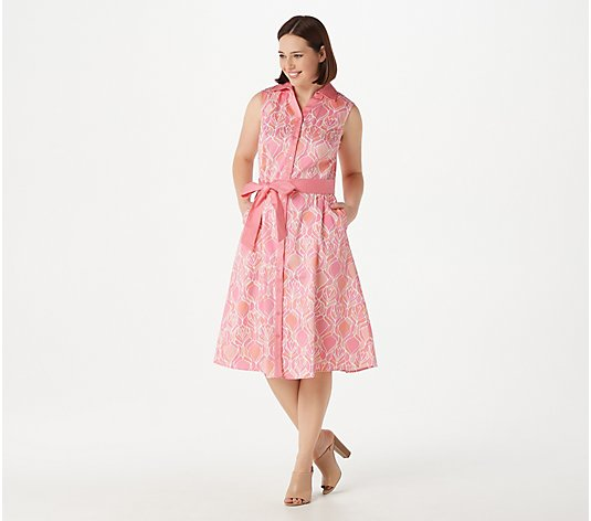 Isaac Mizrahi Live!  Printed Sleeveless Cotton Sateen Dress