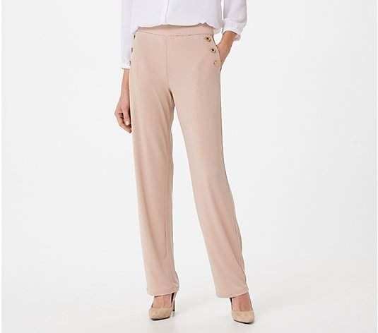 Susan Graver Petite Liquid Knit Pull-On Pants w Button Detail