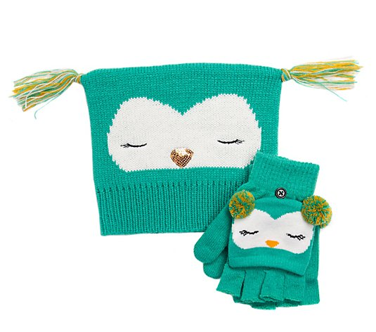 MUK LUKS Kid's Zoo Baby Hat and Flip Mitten Set