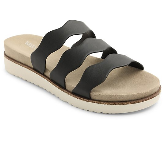 Kensie Slip On Triple Strap Slide Sandals - Dison