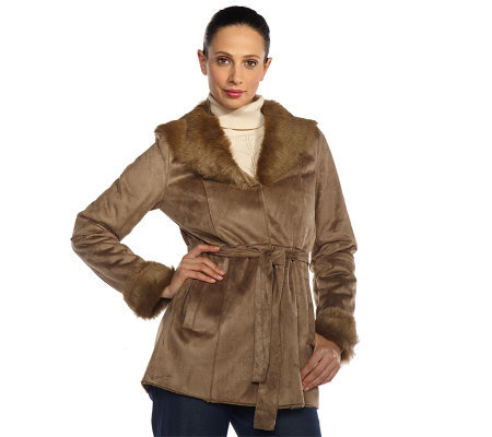 Isaac Mizrahi Live! Shearling Coat with Faux Fur Trim