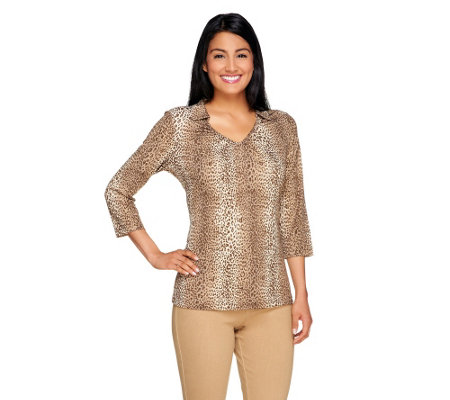 Susan Graver Foil Printed Liquid Knit Top with Collar