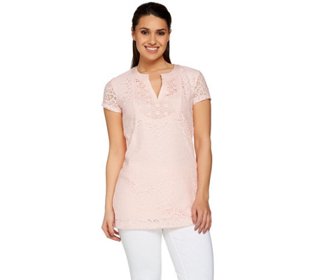 Isaac Mizrahi Live! Short Sleeve Mixed Lace Tunic