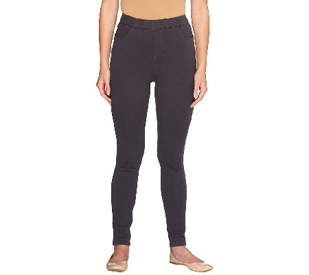 Denim & Co. Petite Comfy Knit Denim Pull- On Leggings