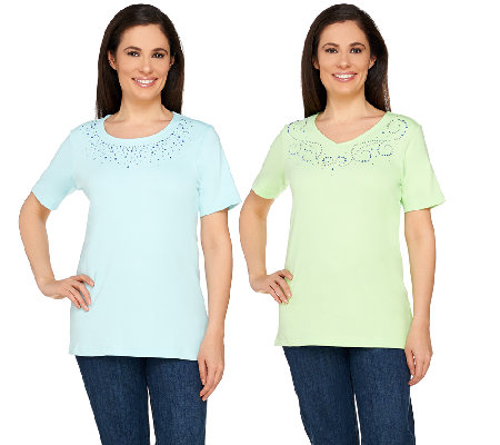 Quacker Factory Set of Two Sparkle and Shine T-shirts