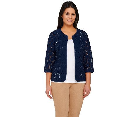 Joan Rivers Open Front Lace Jacket with 3/4 Sleeve