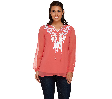 Susan Graver Artisan Woven Long Sleeve Top with Tank