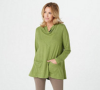 LOGO Lounge by Lori Goldstein French Terry Cowl Neck Top with Pockets - A269667