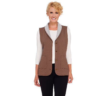 Denim & Co. Quilted Button Front Vest with Pockets