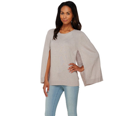 H by Halston Silk-Cashmere Blend Pullover Sweater Cape
