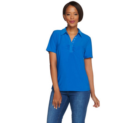 Susan Graver Liquid Knit Short Sleeve Polo Shirt with Print Trim