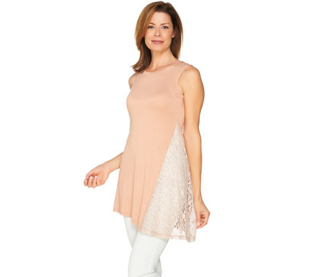 LOGO Layers by Lori Goldstein Knit Tank with Asymmetric Lace Godet