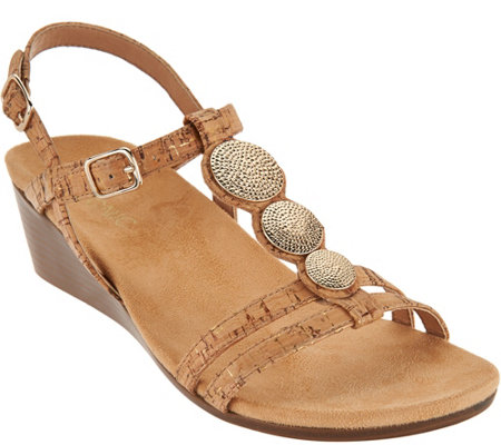 Vionic Orthotic Embellished Wedge Sandals - Noleen