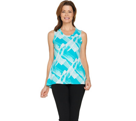 H by Halston Brush Stroke Print Scoop Neck Knit Tank