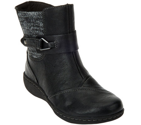 """As Is"" Clarks Leather Ankle Boots w/Knit Panel - Fianna Adley"