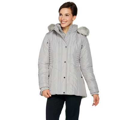 """As Is"" Susan Graver Quilted Jacket with Removable Faux Fur Trim Hood"