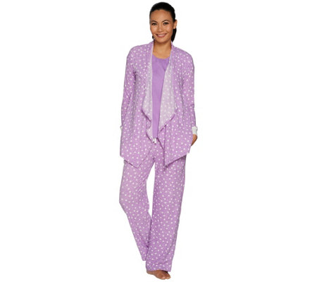 Carole Hochman Stretch Waffle Fleece 3-Piece Pajama Set