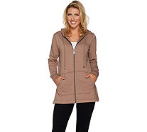 Isaac Mizrahi Live! SOHO Plushed Back Zip Front Tunic Hoodie - A294467