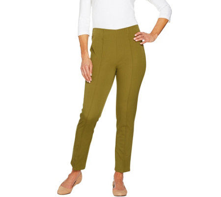 """As Is"" Isaac Mizrahi Live! Regular 24/7 Stretch Ankle Pants w/ Seam"