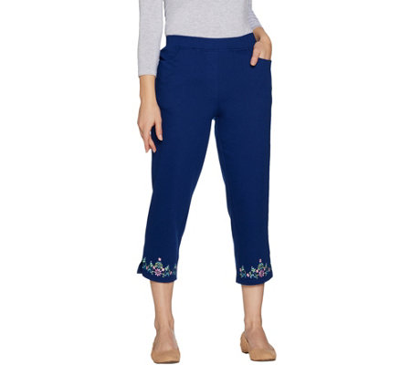 Quacker Factory Floral Embroidered Knit Crop Pants