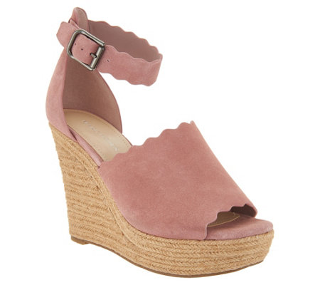 Marc Fisher Suede Ankle Strap Espadrille Wedge Haya