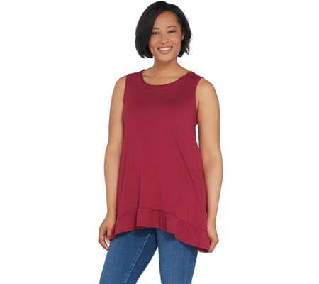 LOGO by Lori Goldstein Cotton Modal Tank w/ Ruffle Hem Detail