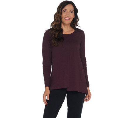 LOGO by Lori Goldstein Cotton Slub Knit Top with Asymmetric Hem
