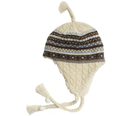 MUK LUKS Women's Fair Isle Cable Tassel Helmet