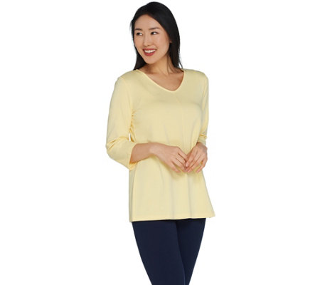 """As Is"" Belle by Kim Gravel Essentials 3/4 Sleeve V-Neck Top"