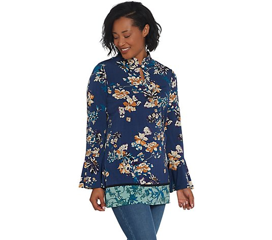 Susan Graver Printed Liquid Knit Tunic with Keyhole Trim
