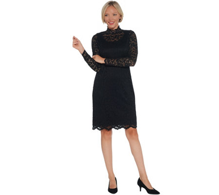 Isaac Mizrahi Live! Petite Lace Mock Neck Knit Dress
