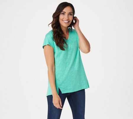 Belle by Kim Gravel Slub Knit Short-Sleeve V-Neck Top