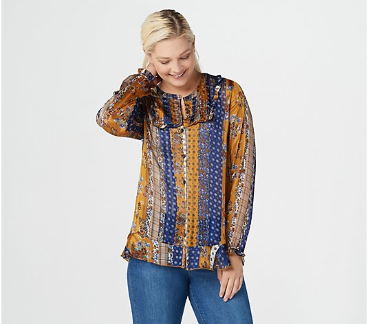 LOGO by Lori Goldstein Printed Button-Front Satin Blouse