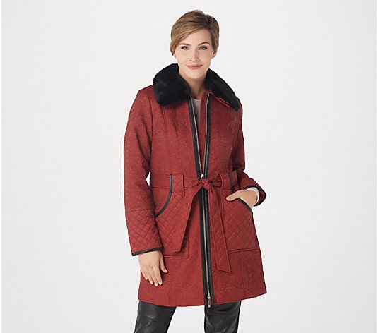 Dennis Basso Madison Avenue Water-Resistant Novelty Quilted Coat