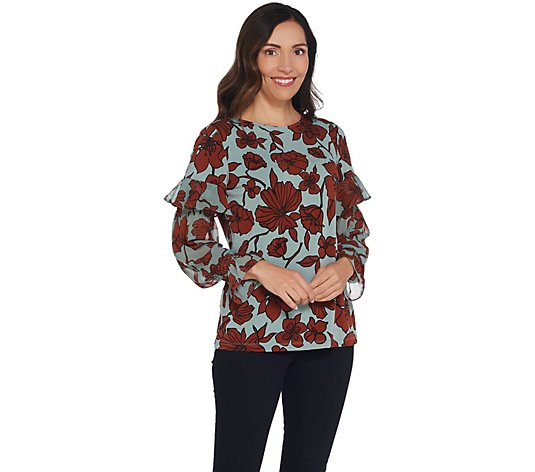 """As Is"" Dennis Basso Printed Caviar Crepe Top with Chiffon Sleeves"