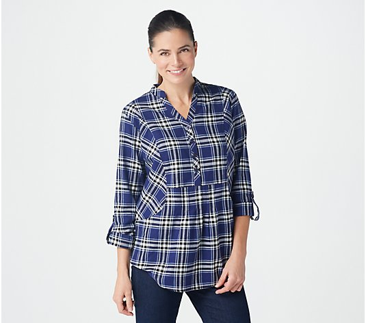 Joan Rivers Long-Sleeve Pullover Plaid Shirt with Pockets
