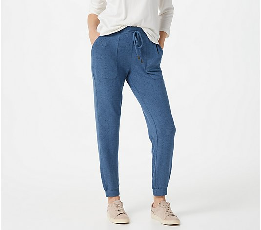 Susan Graver Weekend Regular Heathered Brushed Knit Jogger Pants