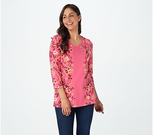"""As Is"" Isaac Mizrahi Live! Engineered Floral Printed V-Neck Tunic"