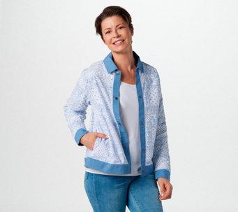 Denim & Co. Patchwork Bandana Print Jacket with Quilt Details - A396467