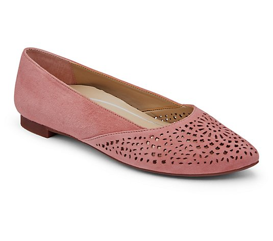 Vionic Slip-On Perforated Suede Flats - Carmela