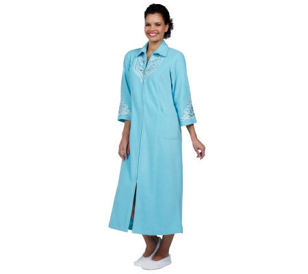 Bob Mackie s Embroidered Zip Front Fleece Robe w Jewel Detail - Page ... 270d8882b