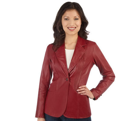 Denim & Co. One Button Leather Jacket with Pintuck Detail